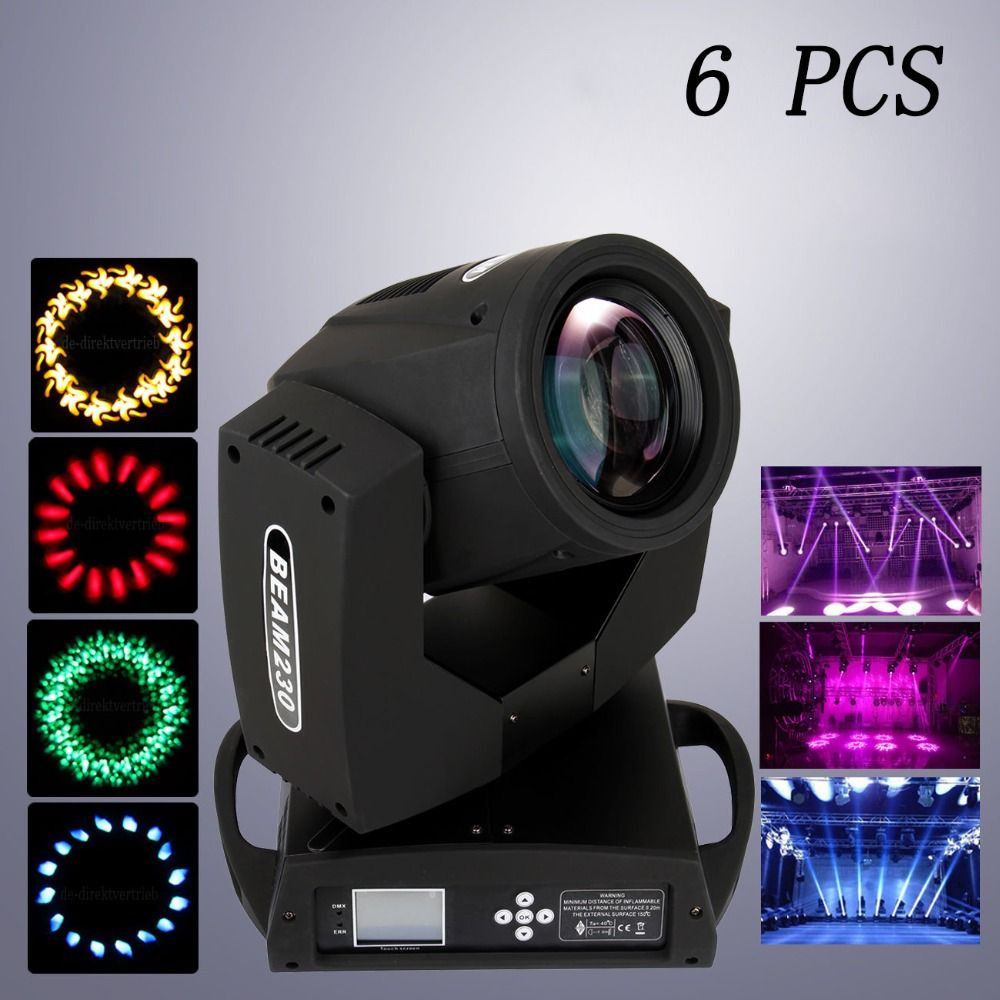 (Ship from EU) 6pcs Sharpy Beam 230W 7R Moving Head Light Touch Screen Stage Disco Lights