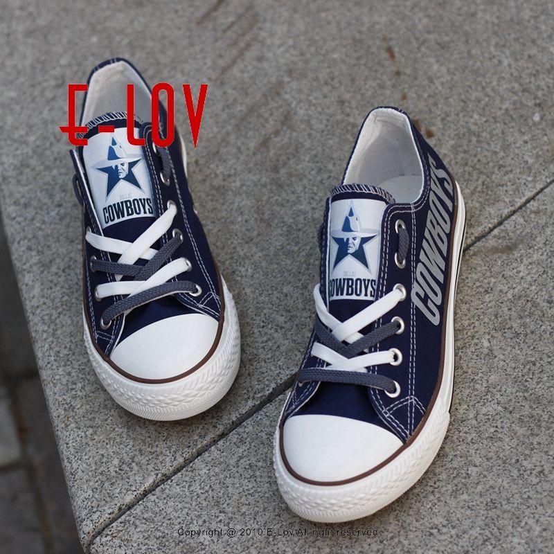 Hot Sale Dallas Cowboys Team USA Canvas Shoes Drop Shipping Print Casual Shoes <font><b>Graffiti</b></font> Canvas Shoes Men Boys Fans Gift