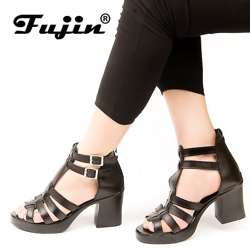 2018 Fujin Brand Women Sandals Summer Shoes Genuine leather Sandals high heels Shoes Fish Mouth Waterproof Platform Sandals