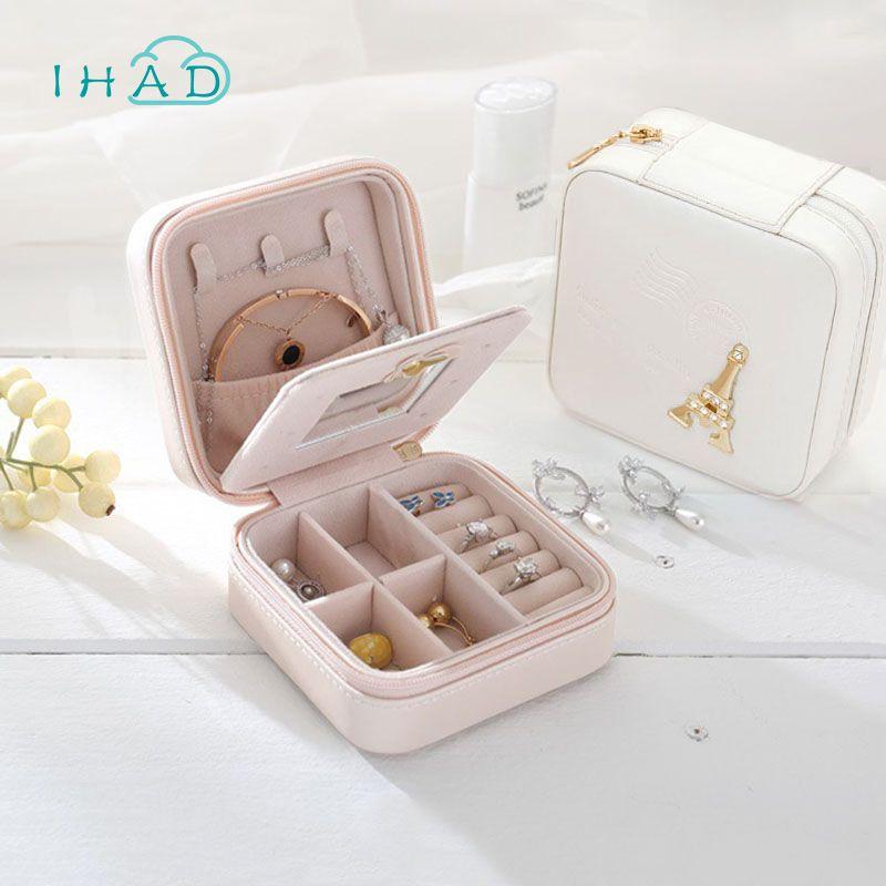 Valentine cadeau organisateur de bijoux boîte cosmétique organisateur de maquillage Voyage bijoux boîte d'emballage boucles d'oreilles bijoux coffret de stockage cas
