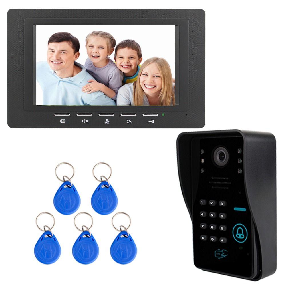7 Color TFT LCD Video Intercom Door Bell Phone Dual-way Video Intercom with 5pcs RFID ID Card F3367A