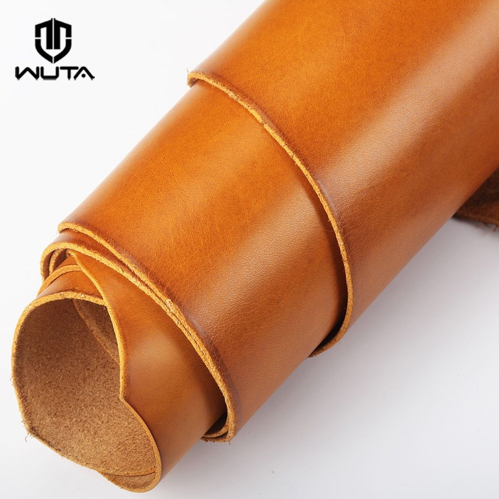 WUTA Waxed Veg Tanned Leather Handmade DIY First Layer Leather Piece Finished Full Grain Leather Material Drum Dye-6Color Choose