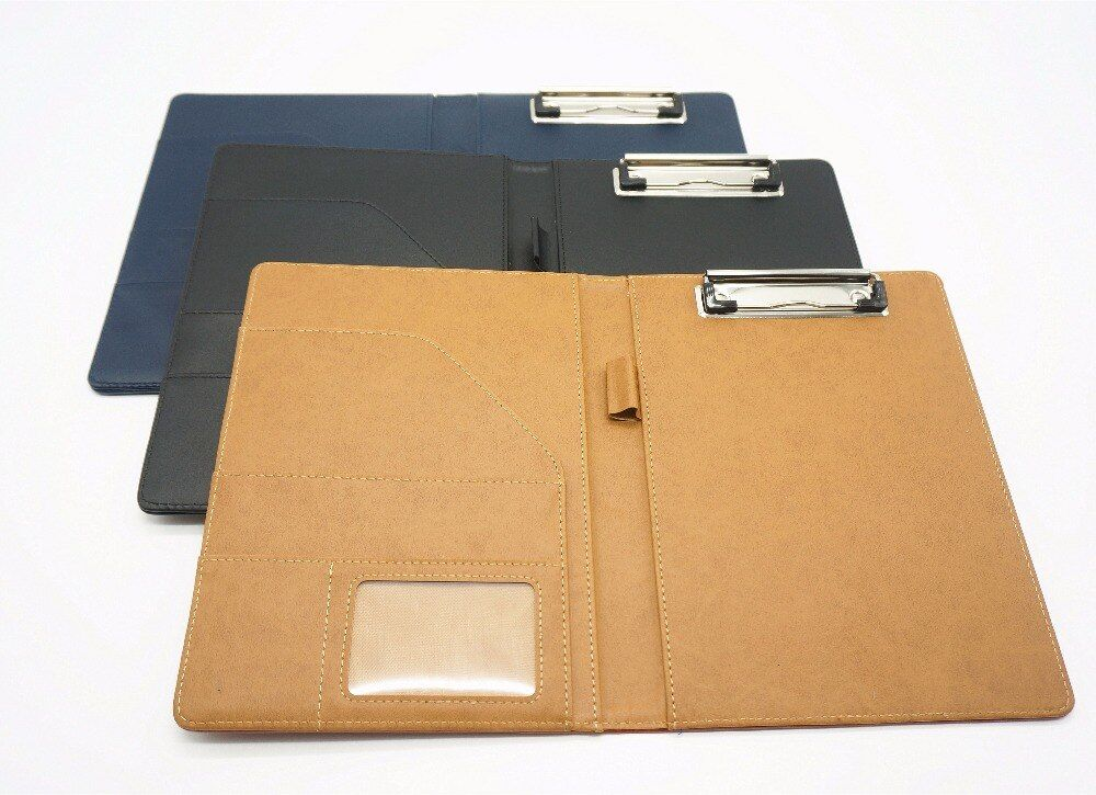 A5 document bag file folder <font><b>clip</b></font> board business office financial school supplies faux leather made Super Promotion on now