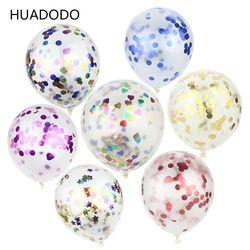 HUADODO 5 шт. 12 дюймов конфетти воздушные шары прозрачный латексный воздушный шар для украшения свадьбы счастливый день рождения, детский душ в...