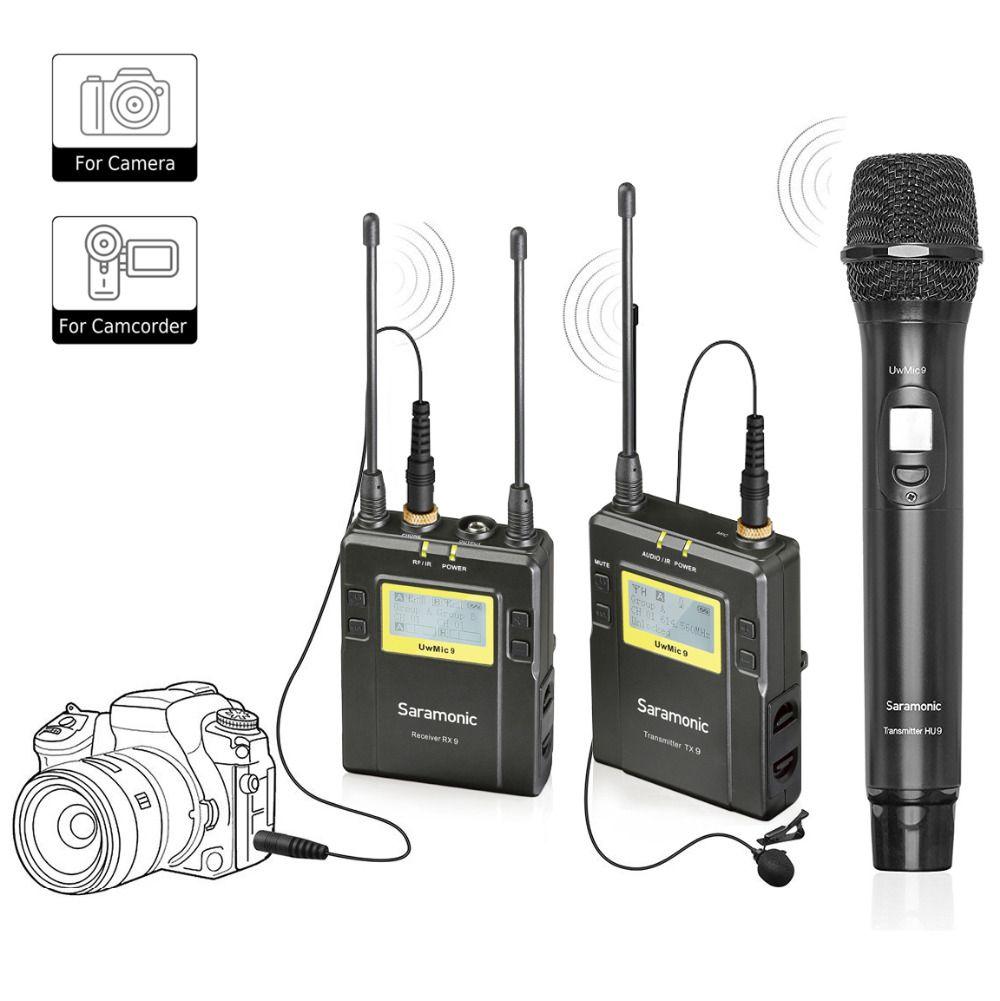 Saramonic UWMIC9 Wireless Lavalier +Handheld Microphone System with Bodypack Transmitter + Lav Mic,Handheld Mic with Transmitter