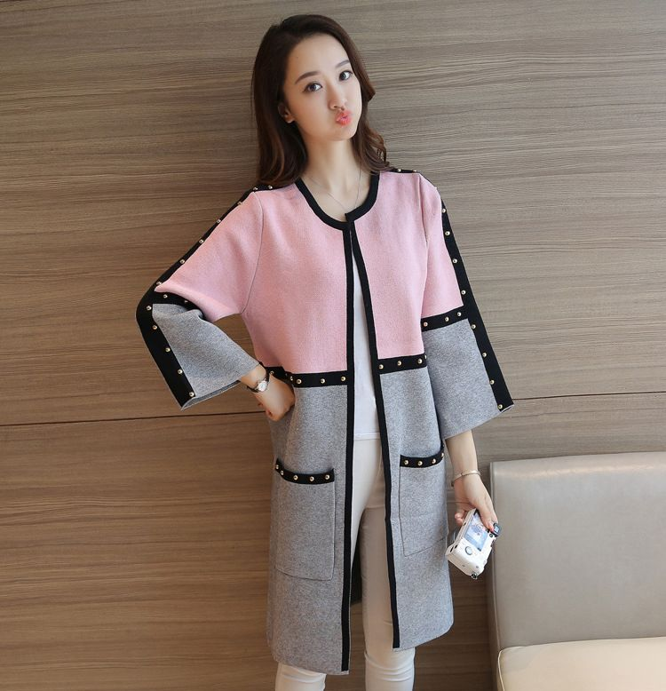 J40391 Fashion Women Autumn Winter Outwear Color Patchwork Wool and Blends All-match Patchwork Full sleeve Slim Knitted Cardigan