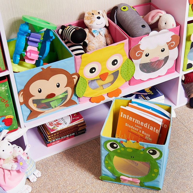 3D Cartoon Non-Woven kid Toys Storage bins Animal Embroidery Foldable Clothes Storage Boxs for Underwear organizer Rangement