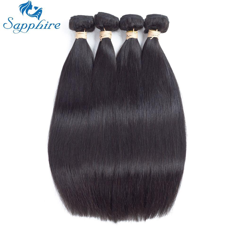 Saphir Droite Remy de Cheveux Humains 4 Bundles Naturel Noir 1B # Salon Cheveux plus longs Cheveux PCT 5% Humains Droite Brésilienne cheveux