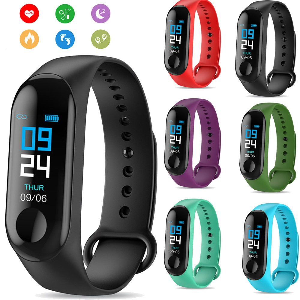 M3 Smart Bracelet Band Fitness Tracker Heart Rate Blood Pressure Messages Reminder Color Screen Waterproof Sport Wristband
