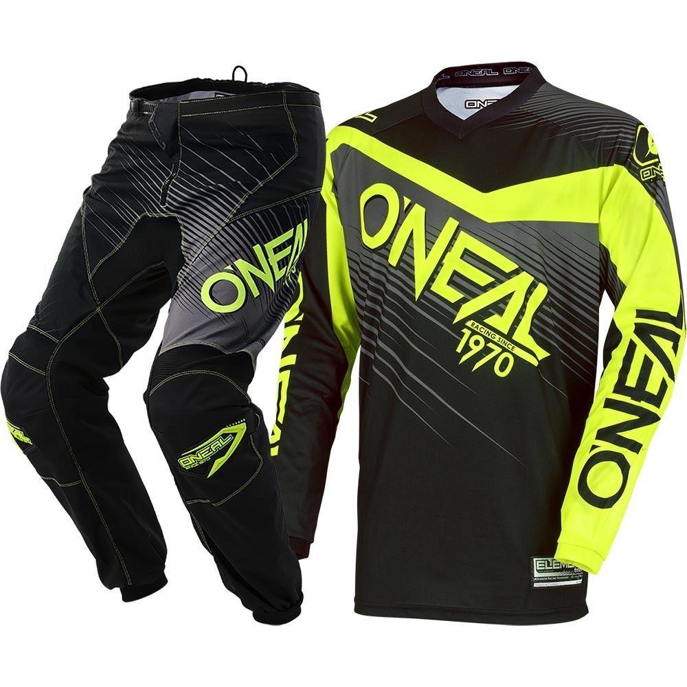 NEW 2018 MX Element Yellow Black Motorcycle Hi Viz Jersey Pants Cheap Motocross Gear Set