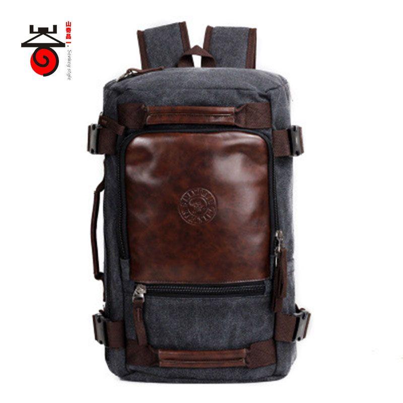 Senkey style 2018 Fashion Large Capacity Rucksack Men's Canvas Backpack <font><b>MULTIFUNCTION</b></font> Leisure Travel Men's Laptop Backpacks bag