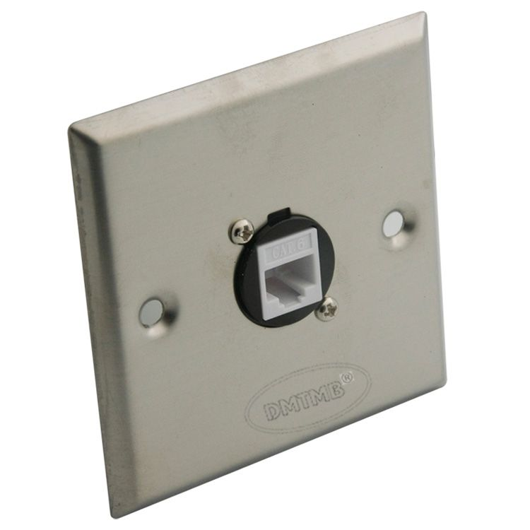 Stainless steel wall plate with one port CAT6 RJ45 and support DIY
