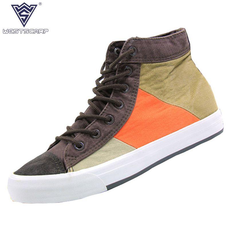 WEST SCARP Men Shoes Fashion New Canvas Sneakers Men Winter Shoes Lace-Up Male Casual Shoes Autumn Zapatos Hombre Size 39-44