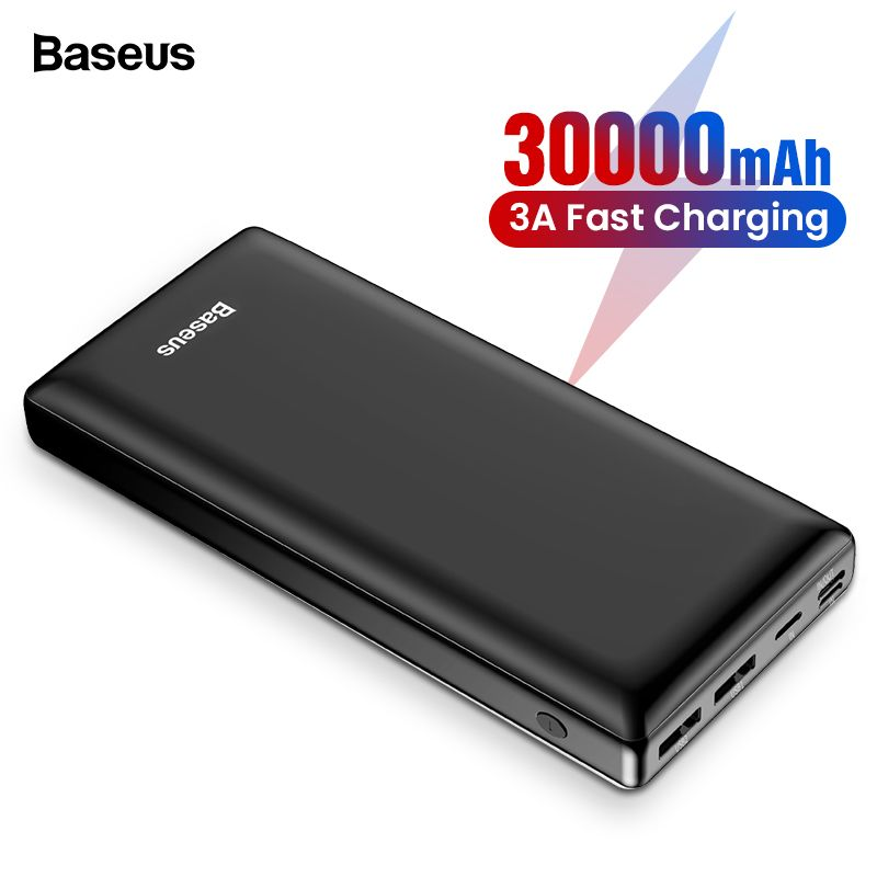 Baseus 30000 mAh batterie externe pour Samsung S10 S9 Xiao mi mi 9 30000 mAh Powerbank USB C chargeur de batterie externe Portable