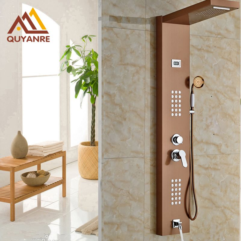Rose Gold Shower Panels Wall Mounted Ceramic Handshower with Jets Bath & Shower Faucets