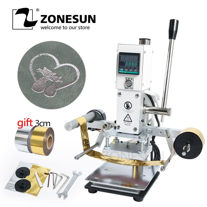 ZONESUN ZS-90A New Automatic Hot Foil Stamping Machine Leather Wood Paper Brand Logo Embossing Heat Press Manual Machine