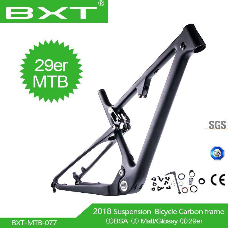 BXT Neueste 29er UD Carbon MTB Full Suspension Kreuz Land keine logo BSA Hinten schock 165*38mm * 22mm Mountainbike Rahmen