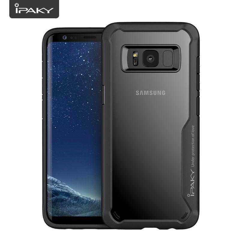 IPAKY Pour Samsung Galaxy S8 S9 Cas en Silicone Souple TPU + PC Transparent Couverture Arrière Armure Cas Antichoc Pour Samsung Galaxy S8 Plus