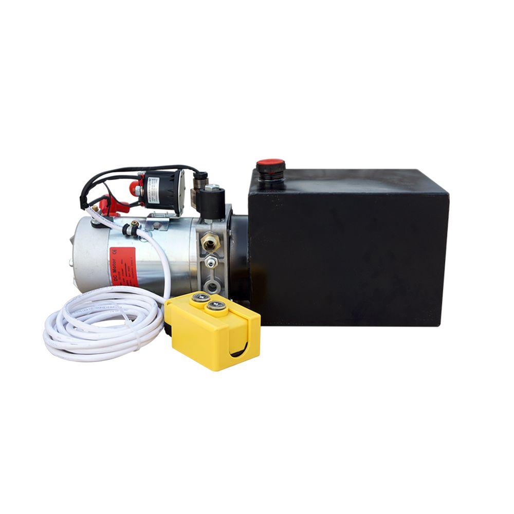 DC HOUSE High Quality Single Acting Hydraulic Pump 6L 12V Dump Trailer- 6 Quart 3200 PSI Max