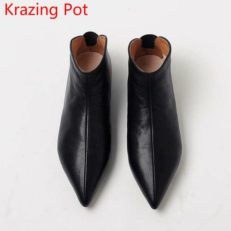 2018 New Arrival Genuine Leather Keep Warm Winter Shoes Modern Girl Pointed Toe Slip on Casual Flats Brand Pregnant Shoes L31