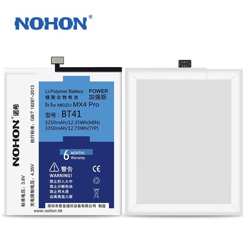 Hohe Kapazität Original NOHON Batterie BT41 Für Meizu MX4 Pro Ersatz Li-Ion Batterie Bateria 3350 mAh Freies Werkzeuge Einzelhandel Paket