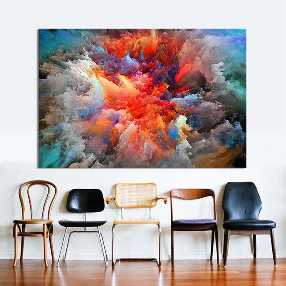 HDARTISAN Modern Abstract Canvas Art Painting <font><b>Colorful</b></font> Clouds Wall Pictures For Living Room Home Decor Frameless