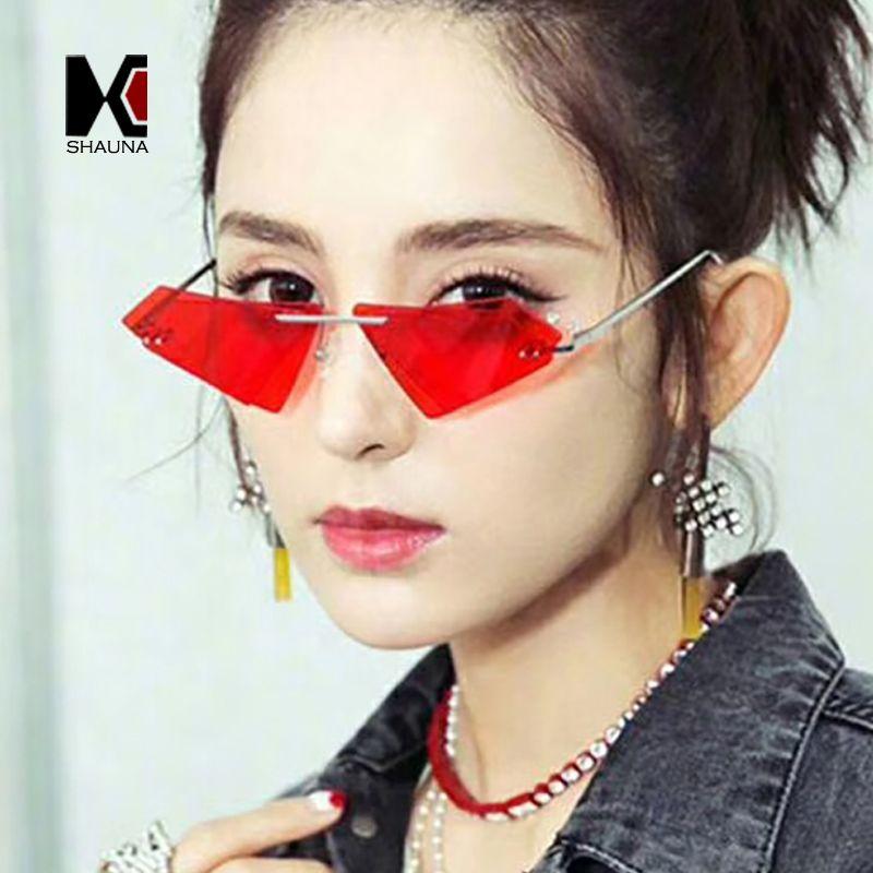 SHAUNA Unique sans monture femmes diamant forte lunettes de soleil mode Double lentille oeil de chat hommes rouge teinté/clair lentille nuances UV400