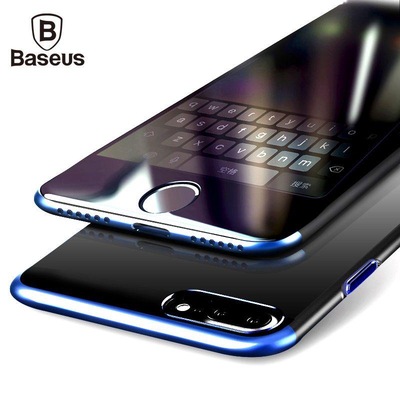 BASEUS PC жесткий чехол для iphone 8 7 Чехол для iphone 8 7 Plus против царапин гальванических Защитный телефон сумка В виде ракушки Coque