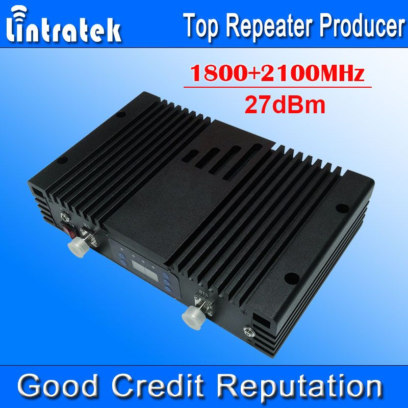 75db AGC MGC LCD 4G LTE 1800MHz+3G 2100MHz Dual Band Signal Boosters Powerful 1800+2100MHz Cell Phones Mobile Signal Repeater #
