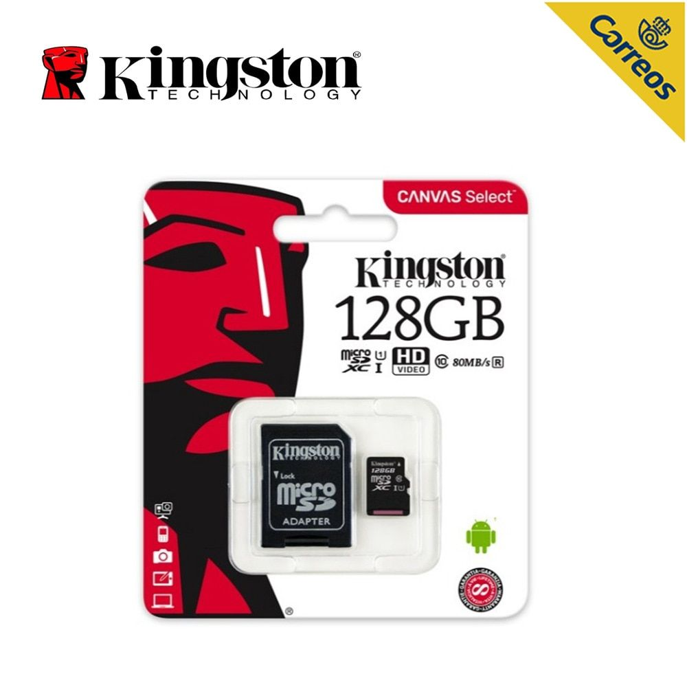 Kingston Technology Canvas Select, 128 GB, MicroSDXC, Class 10, UHS-I, 80 MB/s, Black Memory Card for Smart phone for Speaker