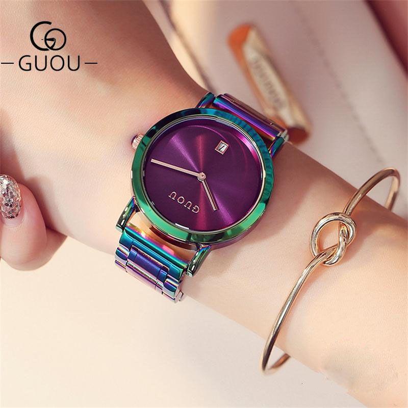 GUOU montres de luxe pour femmes en acier inoxydable coloré sangles violet femmes montres de mode dames montre reloj mujer zegarek damski