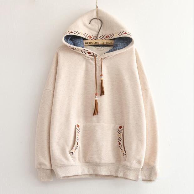 2 colors-- Arrow embroidery tassel hooded thickening sweatshirt mori girl vintage pullover