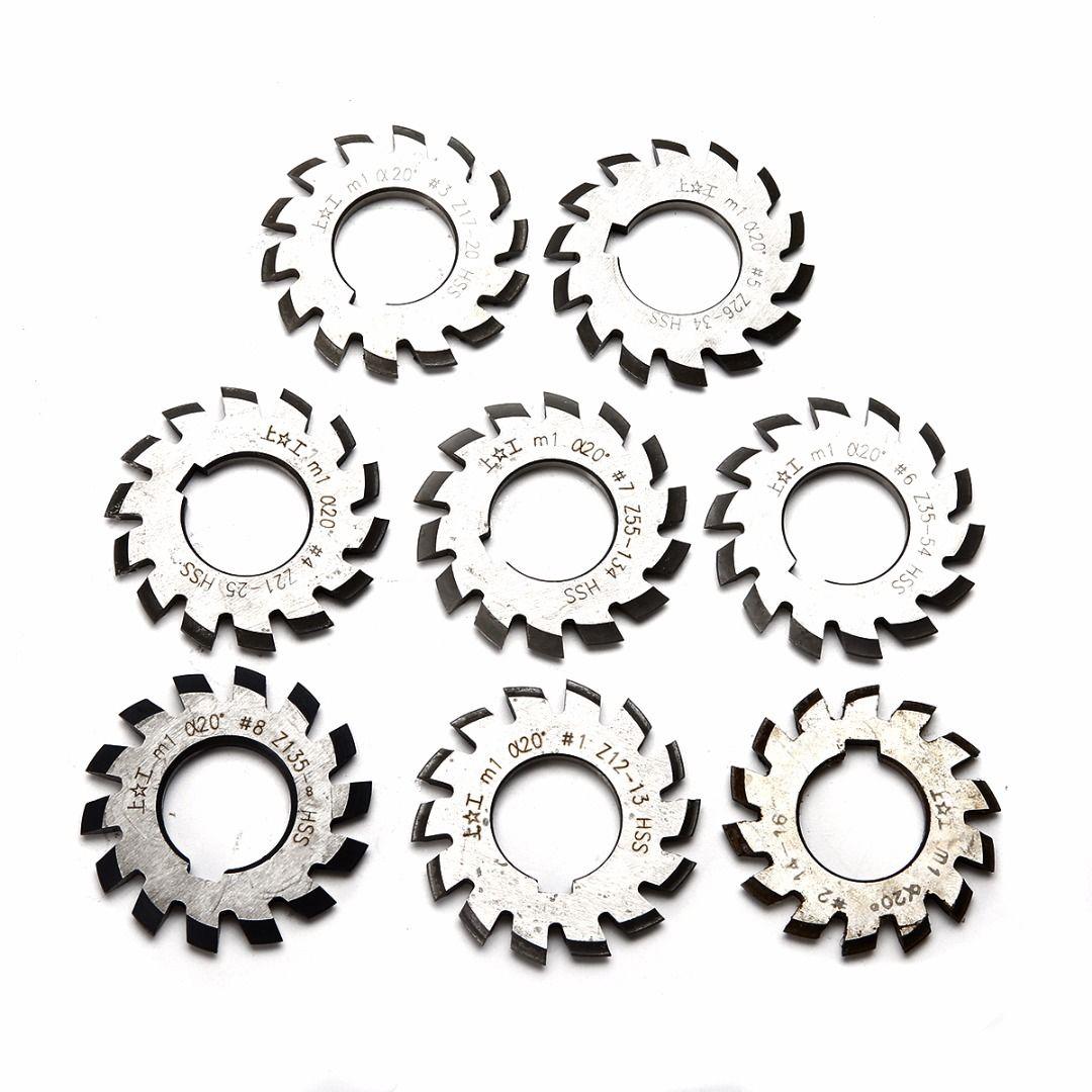 8pcs M1 22mm Bore HSS Involute Gear Cutters Set 20 Degree #1-8 Assortment Kit Set For Milling Tools
