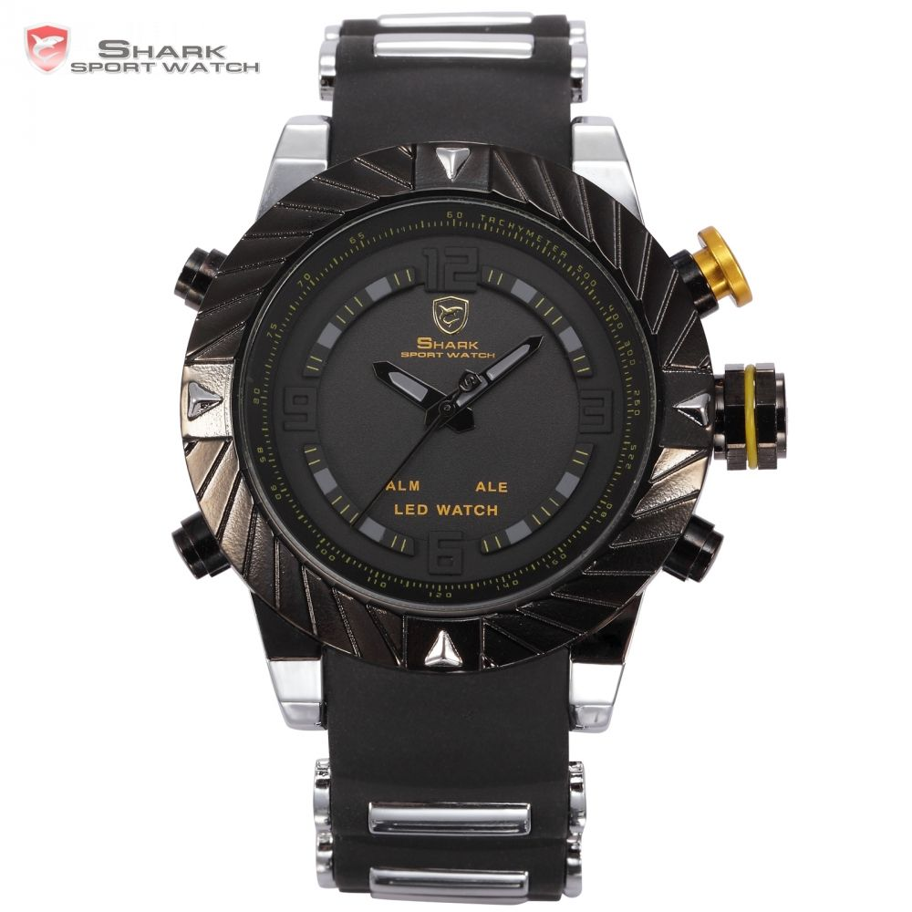 Brand SHARK Sport Watches LED Display Alarm Black Silicone Strap Relogio Masculino Tag Men Military Quartz Digital Watch / SH168