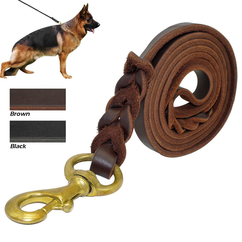 Laisse de chien en cuir véritable tressé K9 fils d'entraînement de marche pour berger allemand Golden Retriever 1.6 cm de largeur pour les chiens de taille moyenne