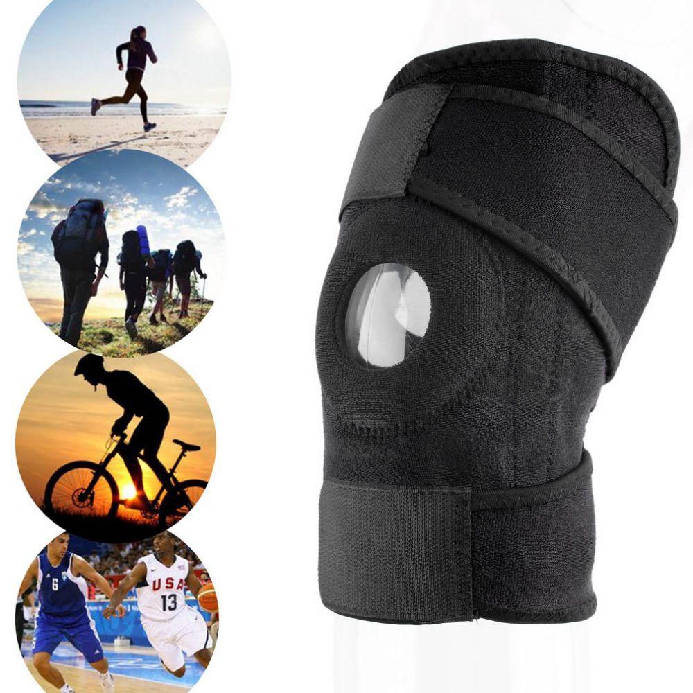 1 stück Einstellbare Sport Training Elastische Kniebandage Klammer Kniepolster Einstellbare Patella Pads Loch Kniepolster Sicherheit Schutz Strap