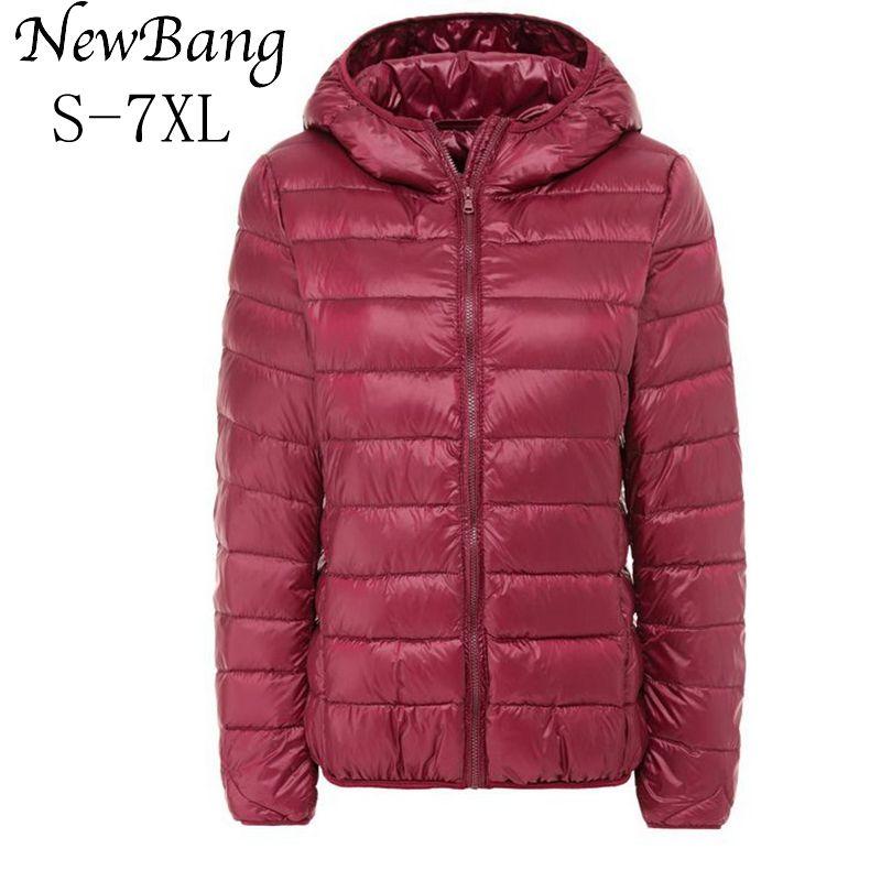 NewBang Brand Large Size 5XL 6XL 7XL Women's Overcoat Female Ultra Light Duck Down Jacket Plus Autumn Winter Hooded Down Coat