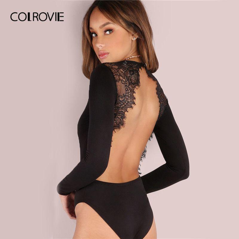 COLROVIE dos nu dentelle Patchwork body noir Sexy Slim femmes Club d'été body à manches longues Skinny chaud fête body