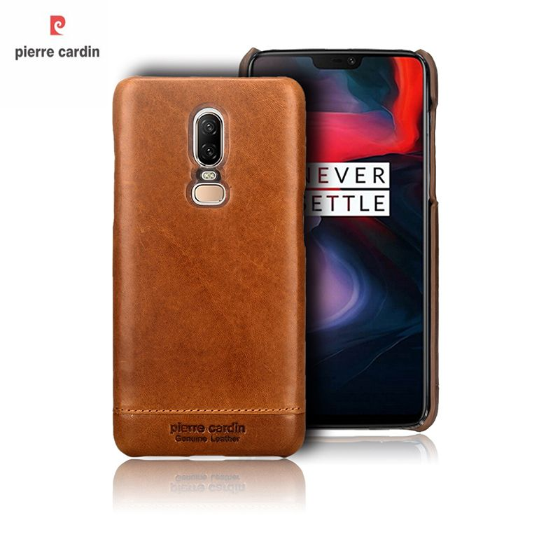 Pierre Cardin case for One Plus 6 case,Luxury Original Genuine leather for One Plus 6 Coque Ultra thin Slim Hard Back Cover caca