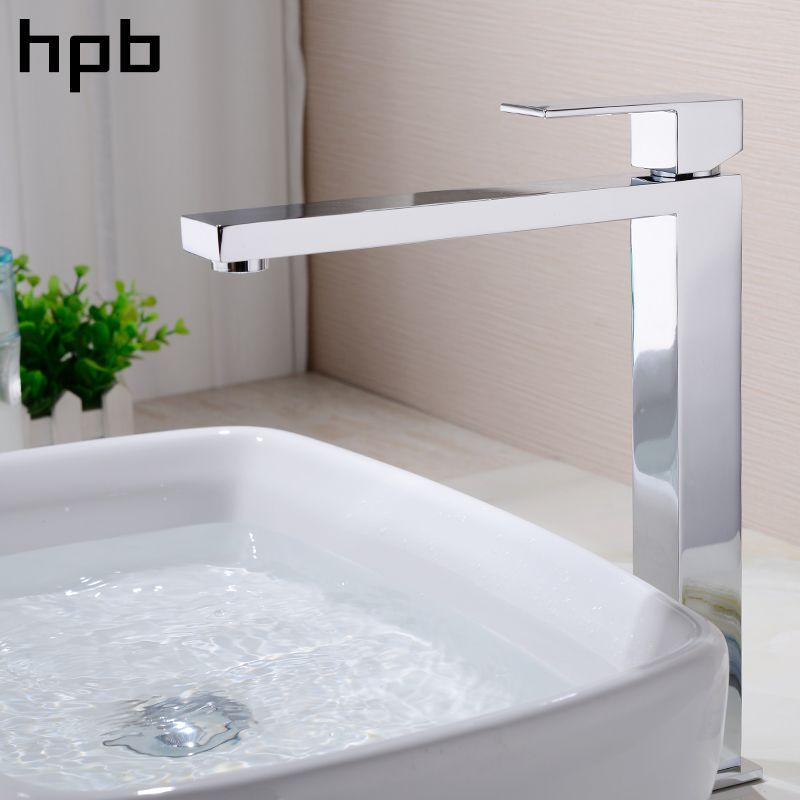 Блаватская Высокий бассейна кран раковины Ванная комната латунь Chrome Однорычажный смеситель горячей и холодной воды высокое качество квадр...
