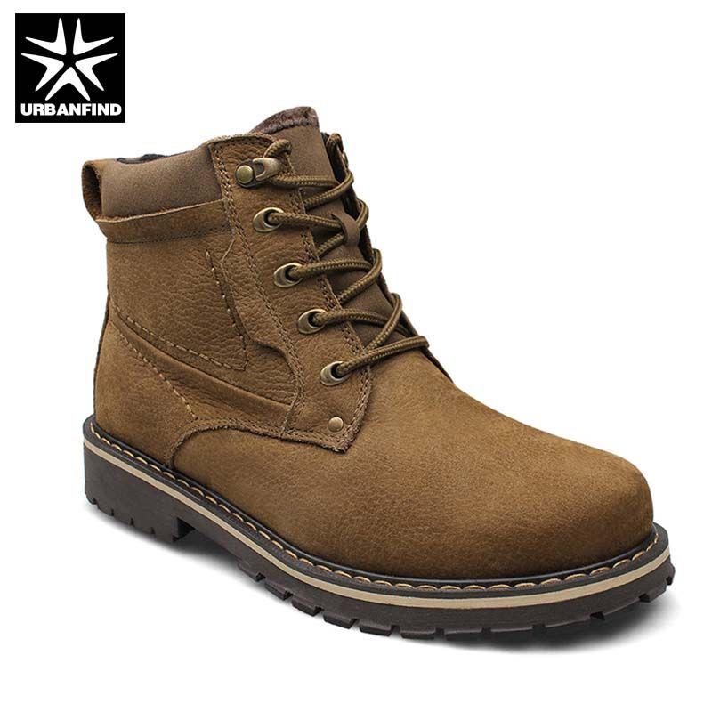 Qualität Männer Aus Echtem Leder Stiefel Große Größe 37-52 Herbst Winter Schuhe Mit Plüschfutter Mann Warme Knöchel Schuhe