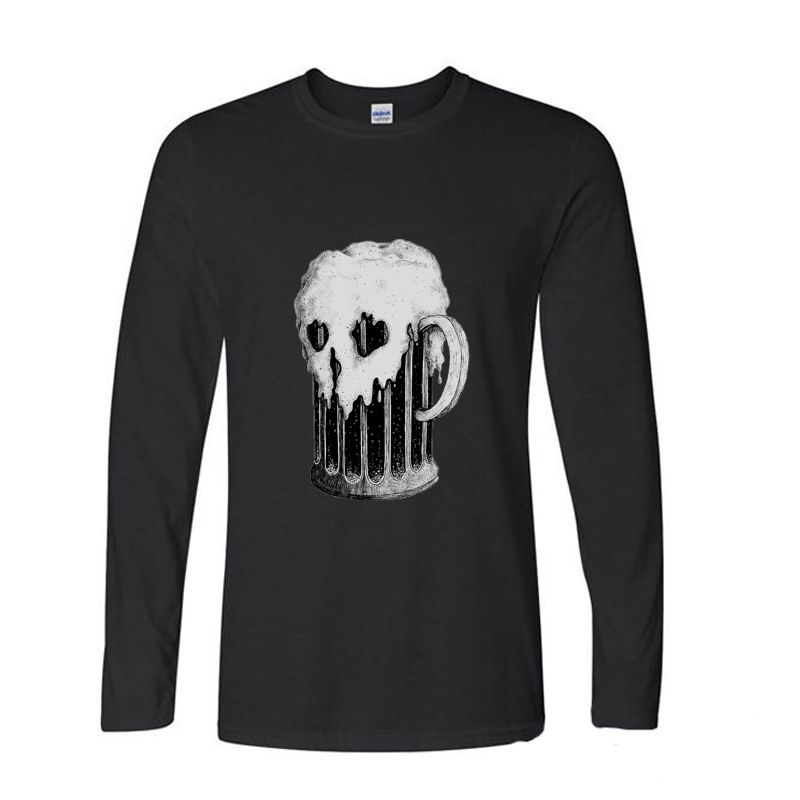 2017 Funny Graphic Funny Beer skull funny long sleeve t shirt men