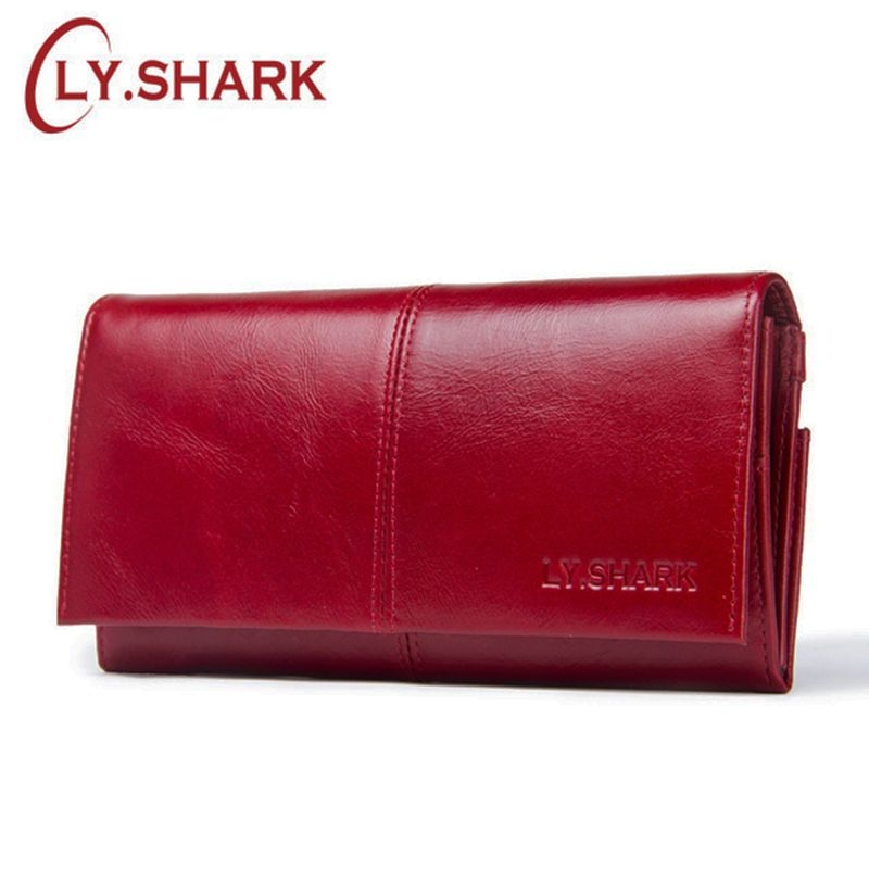 LY.SHARK Luxury Brand Long Genuine Leather Wallet Women Purse Wallet For Credit Card Holder Walet Red Women Clutch Money Bag