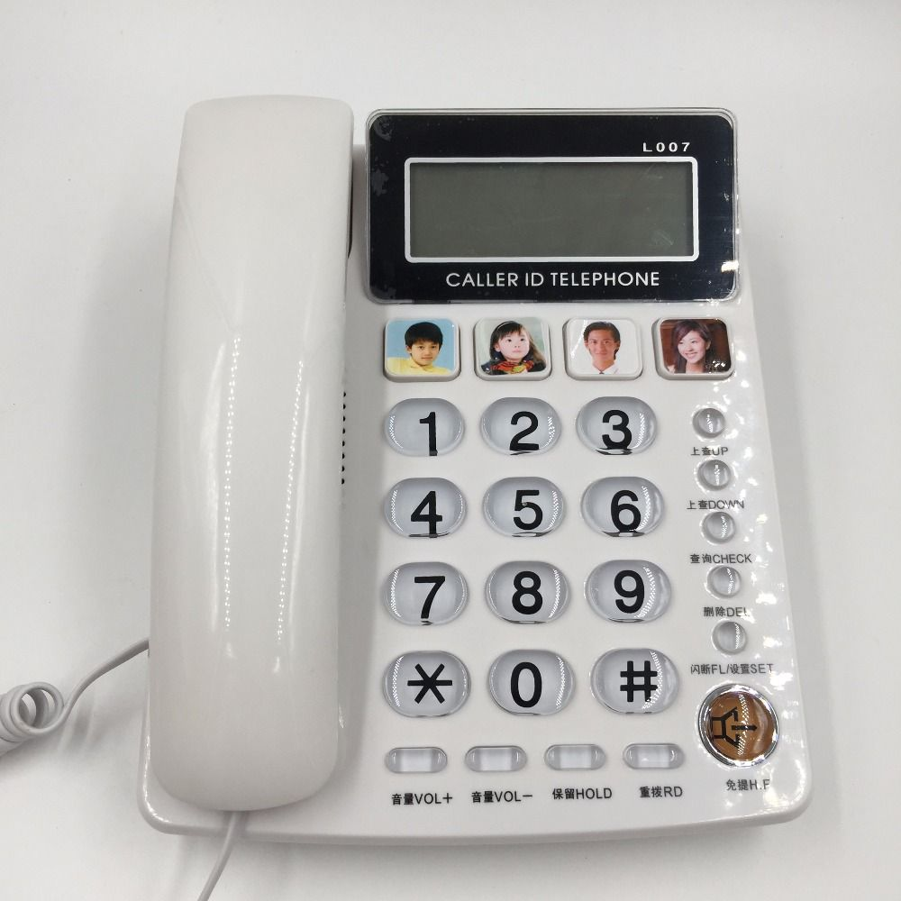FSK/DTMF Caller ID Handfree Corder Telephone Fixe Landline Phone Without Battery For Home Office Telefono Inalambrico White