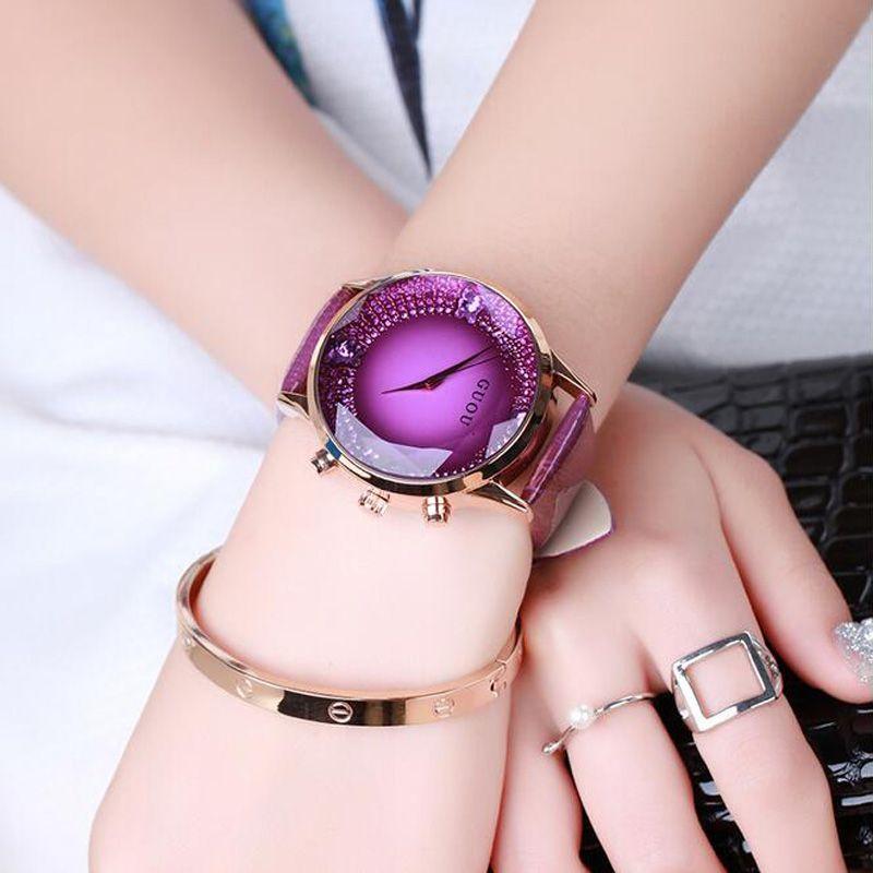 GUOU Watch Women Exquisite Top Luxury Diamond Quartz Ladies Watch Fashion Leather Wristwatch Women watches <font><b>saat</b></font> relogio feminino