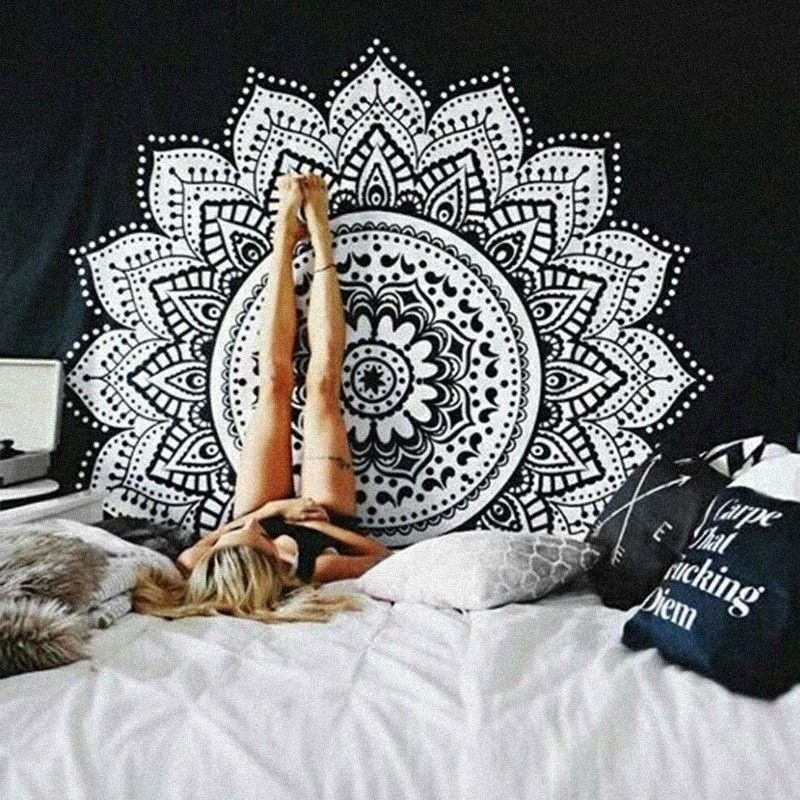 Bohemia black and white cloth tapestry,multi-function tapestry , big size Mandala <font><b>table</b></font> cloth, wall cloth, wearable blanket
