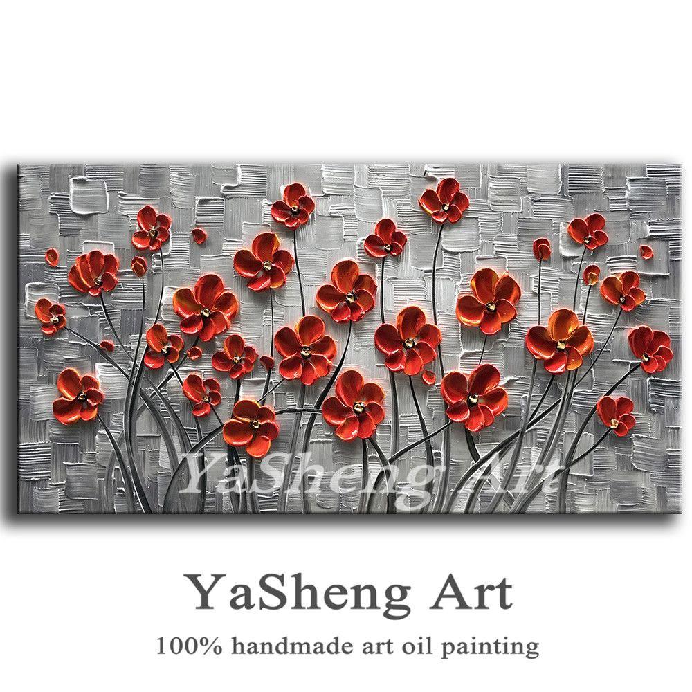 Peint à la main peinture à l'huile Palette couteau peinture épaisse fleurs blanches peinture moderne maison toile mur Art salon décor photo