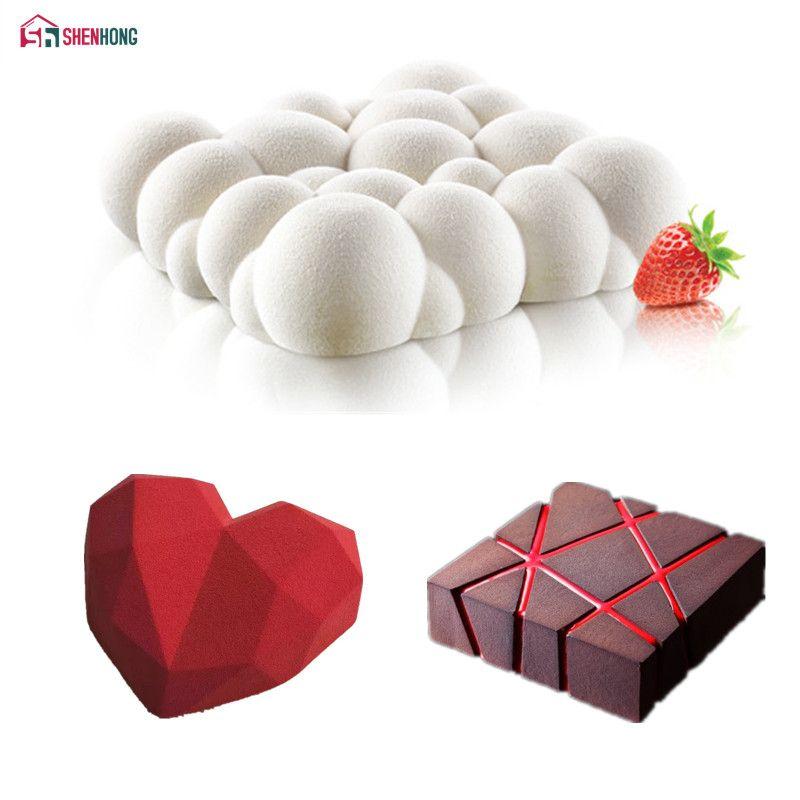 SHENHONG 3PCS Art Cake Mould Pan 3D Grid Block <font><b>Clouds</b></font> Diamond Heart Silicone Mold Mousse Silikonowe Chocolate Moule Baking