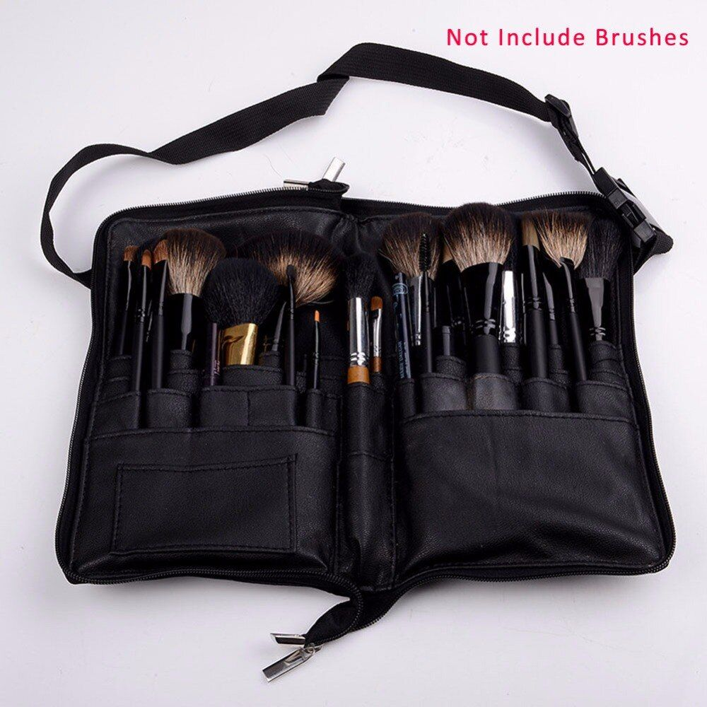 Soft Make up 32 Pockets Paintbrushes pincel maquillaje Make Up Bag Black Brush Case Cosmetic Leather Case (no makeup brush)