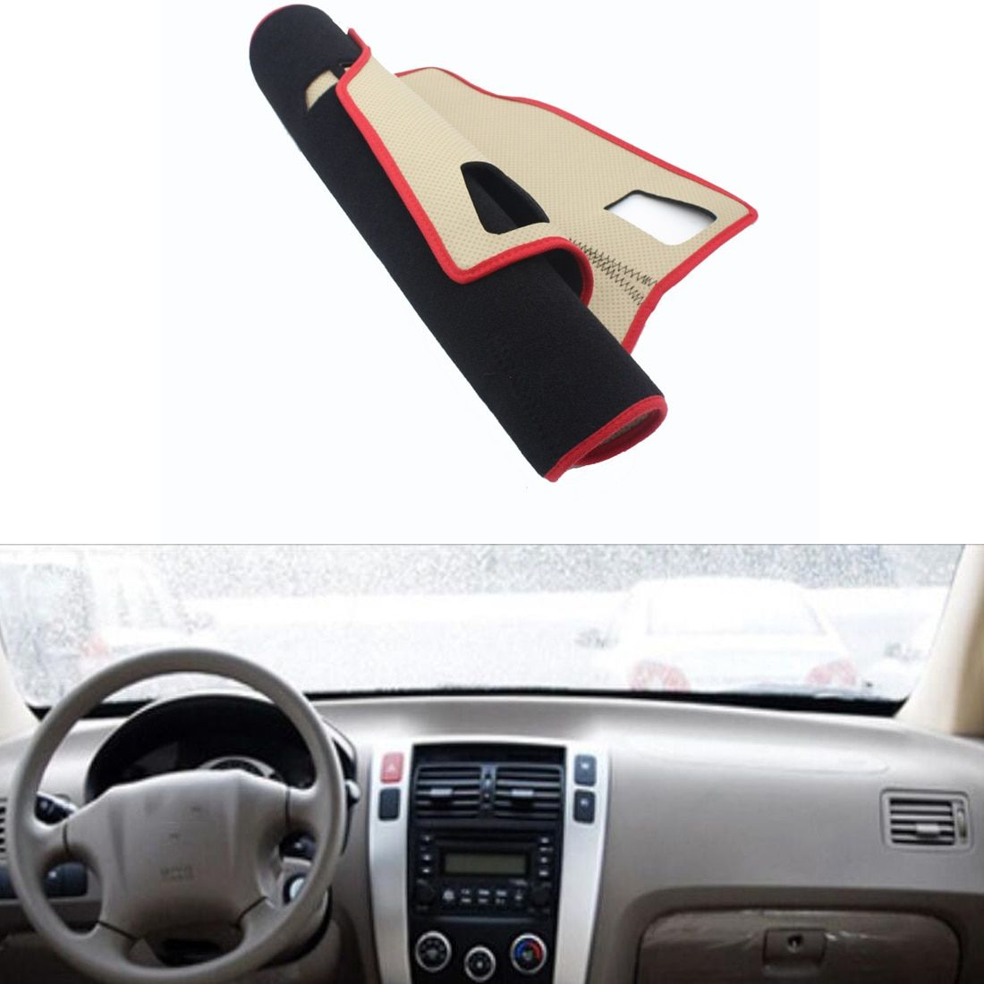 Fit For Hyundai Tucson 2006-2013 Car Dashboard Avoid Light Pad Instrument Platform Desk Cover Mat Silicone Non-skid Back Surface